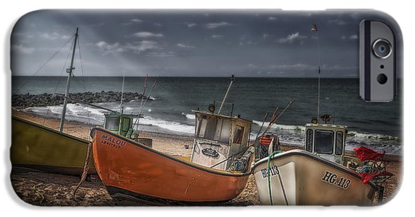 Denmark iPhone Cases - Stranded Boats iPhone Case by Erik Brede