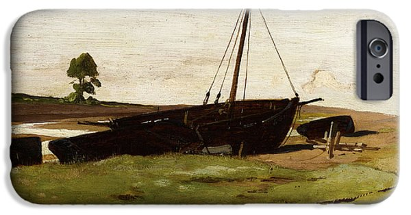 Boat iPhone Cases - Stranded Boats Porlock Weir iPhone Case by Frederick George Cotman