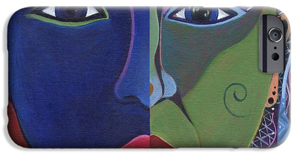 Women Together Mixed Media iPhone Cases - Strange Appeal iPhone Case by Helena Tiainen