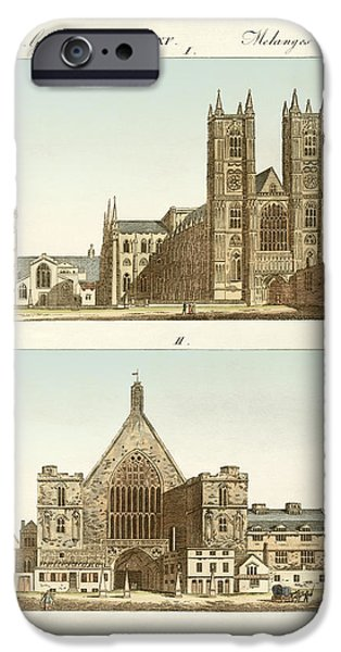 Architektur Drawings iPhone Cases - Strange buildings in London iPhone Case by Splendid Art Prints