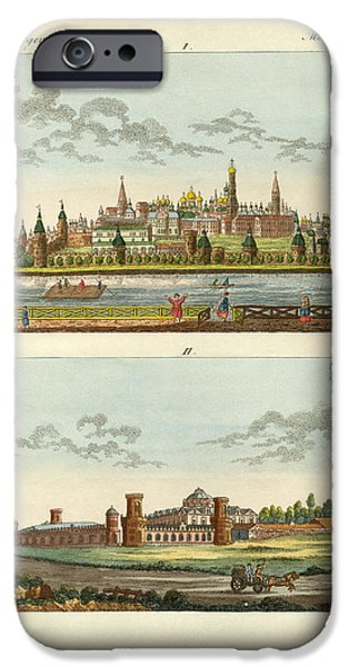 Architektur Drawings iPhone Cases - Strange buildings in Russia iPhone Case by Splendid Art Prints