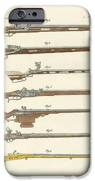 Technology Drawings iPhone Cases - Strange fire guns iPhone Case by Splendid Art Prints