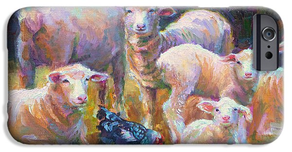Parable iPhone Cases - Stranger at the Well - spring lambs sheep and hen iPhone Case by Talya Johnson