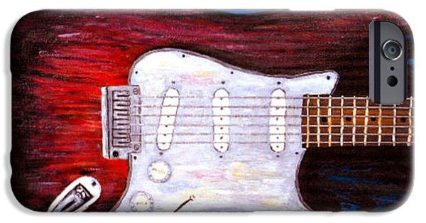 Fender Strat Paintings iPhone Cases - Strat 4 iPhone Case by Barney Napolske