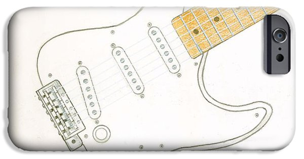 Stratocaster Drawings iPhone Cases - Strat iPhone Case by Rick Yost