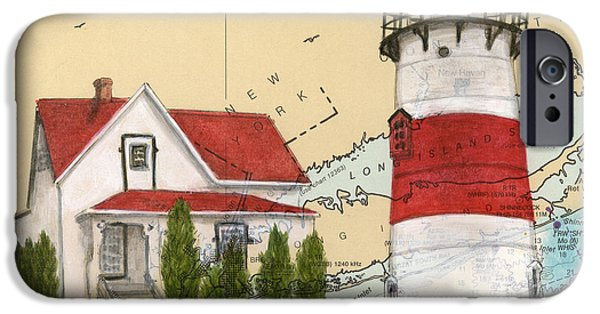 Recently Sold -  - New England Lighthouse iPhone Cases - Stratford Pt Lighthouse CT Nautical Chart Map Art iPhone Case by Cathy Peek