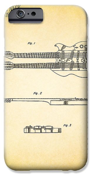 Guitar iPhone Cases - Stratosphere Double Neck Guitar Patent iPhone Case by Mark Rogan