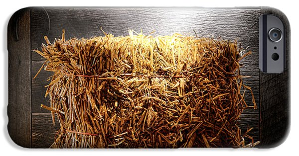 Bales iPhone Cases - Straw Bale in Old Barn iPhone Case by Olivier Le Queinec