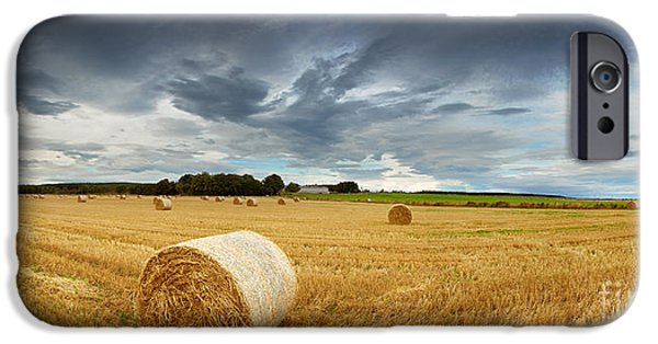Storm iPhone Cases - Straw bales pano iPhone Case by Jane Rix