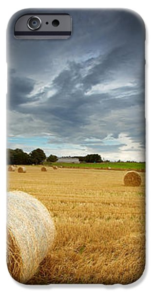 Straw bales pano iPhone Case by Jane Rix