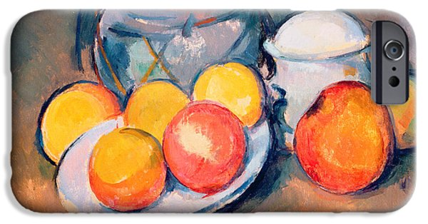 Flower Still Life iPhone Cases - Straw Covered Vase Sugar Bowl and Apples iPhone Case by Paul Cezanne
