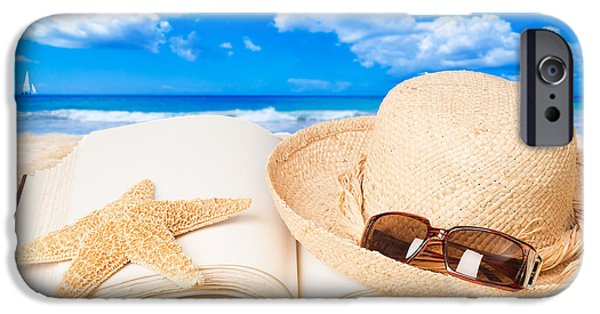 Straw iPhone Cases - Straw Hat On Beach iPhone Case by Amanda And Christopher Elwell