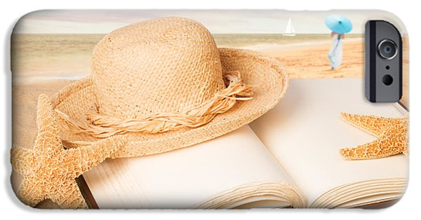 Straw iPhone Cases - Straw Hat On Beach With Book iPhone Case by Amanda And Christopher Elwell