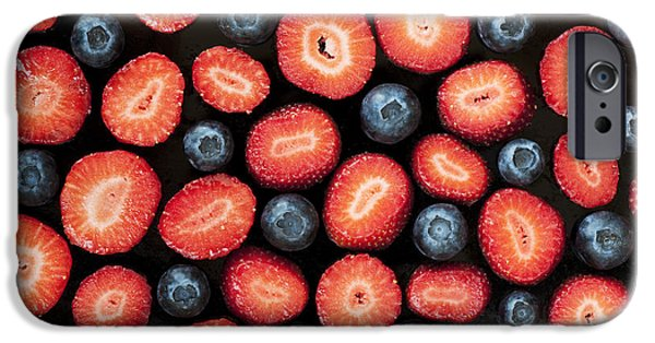 Berry iPhone Cases - Strawberries and Blueberries iPhone Case by Tim Gainey