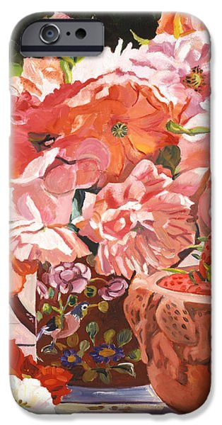 Terra Paintings iPhone Cases - Strawberries And Flowers iPhone Case by David Lloyd Glover