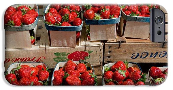 Arles iPhone Cases - Strawberries For Sale At Weekly Market iPhone Case by Panoramic Images