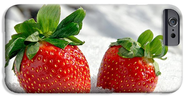 Strawberry iPhone Cases - Strawberries on Ice  iPhone Case by Olivier Le Queinec