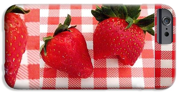 Berry iPhone Cases - Strawberry before during after iPhone Case by Donatella Muggianu