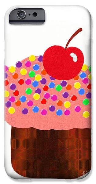 Strawberry Cupcake iPhone Case by Andee Design