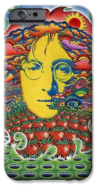 John Lennon Drawings iPhone Cases - Strawberry Fields for Lennon iPhone Case by Jeff Hopp
