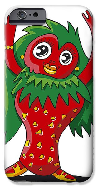 Woman iPhone Cases - Strawberry Girl Doodle Character iPhone Case by Frank Ramspott