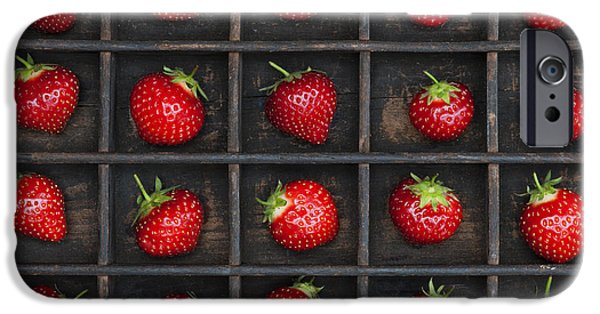 Strawberry Art iPhone Cases - Strawberry Grid iPhone Case by Tim Gainey