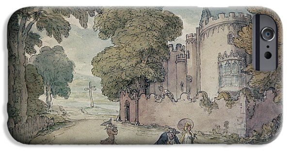 Gothic iPhone Cases - Strawberry Hill Hand Coloured Aquatint iPhone Case by Thomas Rowlandson