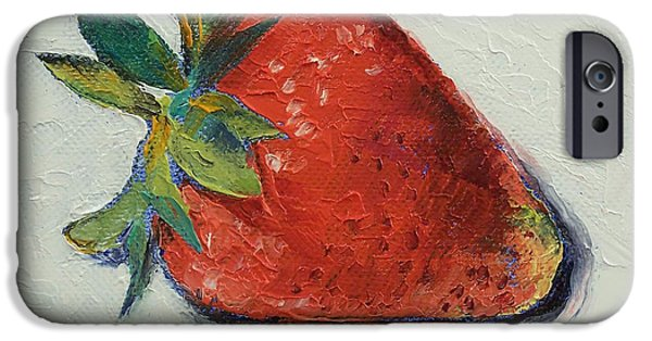 Strawberries iPhone Cases - Strawberry iPhone Case by Michael Creese