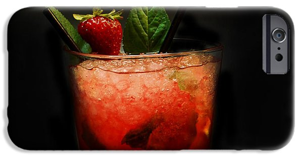 Strawberry iPhone Cases - Strawberry Mojito iPhone Case by Gina Dsgn
