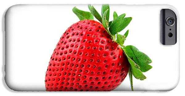 Berry iPhone Cases - Strawberry on WhiteII iPhone Case by Darren Fisher