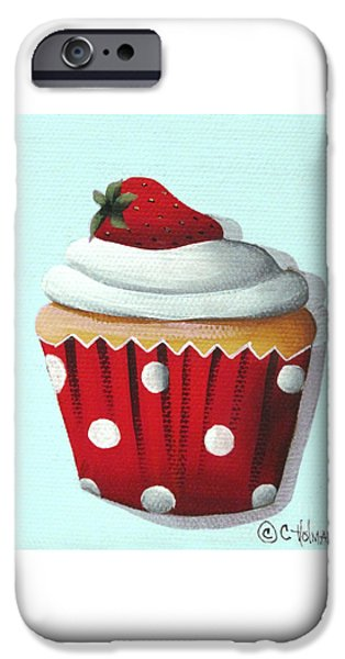Strawberry Shortcake Cupcake iPhone Case by Catherine Holman
