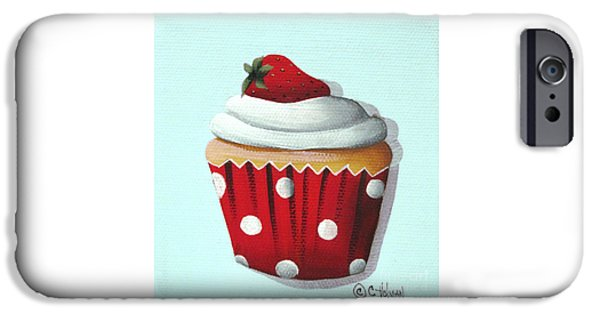 Catherine White Paintings iPhone Cases - Strawberry Shortcake Cupcake iPhone Case by Catherine Holman
