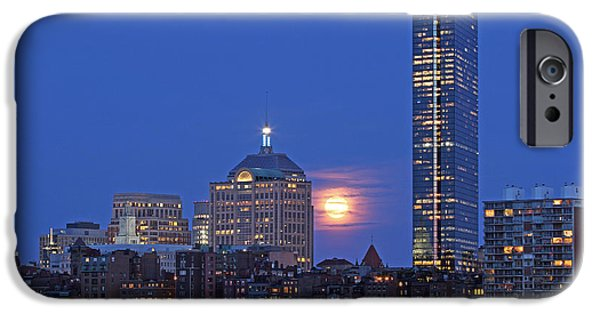 Charles River iPhone Cases - Strawberry Supermoon over Boston Skyline iPhone Case by Juergen Roth