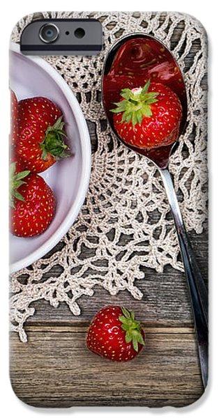 Strawberry vintage iPhone Case by Jane Rix