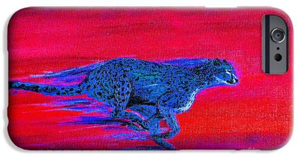 Cheetah Digital Art iPhone Cases - Streaking Cheetah iPhone Case by Nick Gustafson