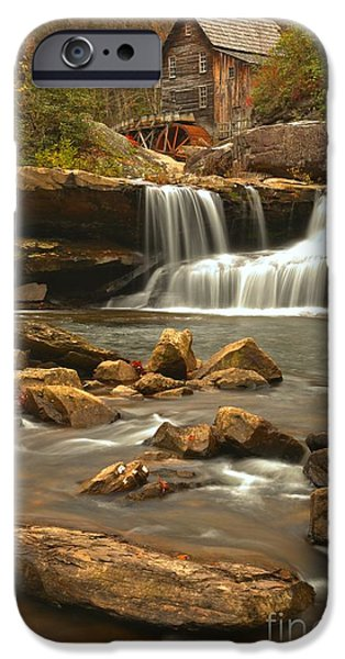 Grist Mill iPhone Cases - Streaming Below The Glade Creek Grist Mill iPhone Case by Adam Jewell
