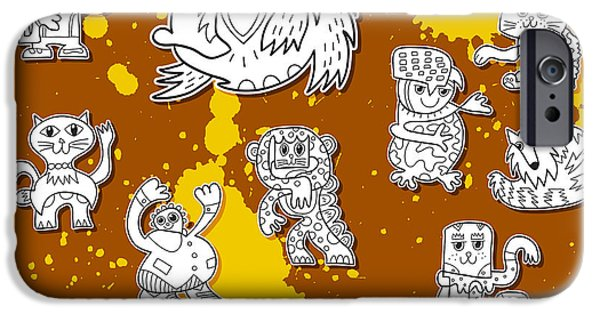 Best Sellers -  - Dirty iPhone Cases - Street Art Doodle Creatures Urban Art iPhone Case by Frank Ramspott