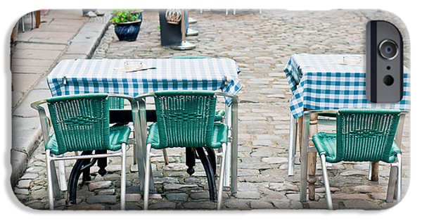 Table Cloth iPhone Cases - Street cafe iPhone Case by Tom Gowanlock