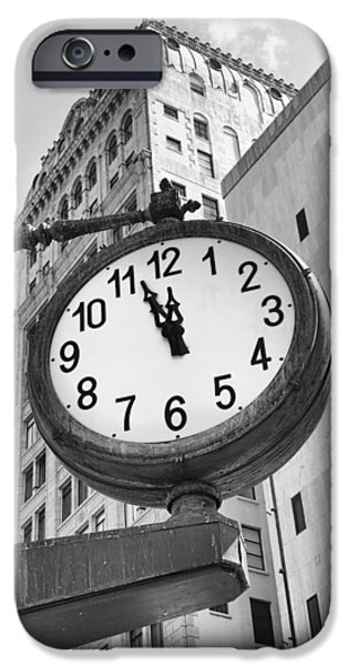 Finance iPhone Cases - Street Clock iPhone Case by Rudy Umans