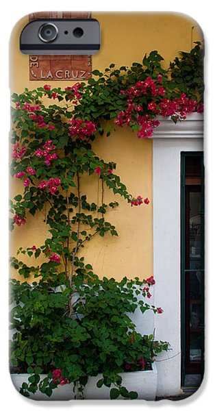 Caribbean Corner iPhone Cases - Street corner in Old San Juan iPhone Case by Frank Tozier