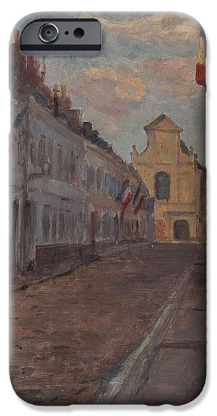 Facade iPhone Cases - Street Decked With Flags Oil On Panel iPhone Case by Henri Duhem