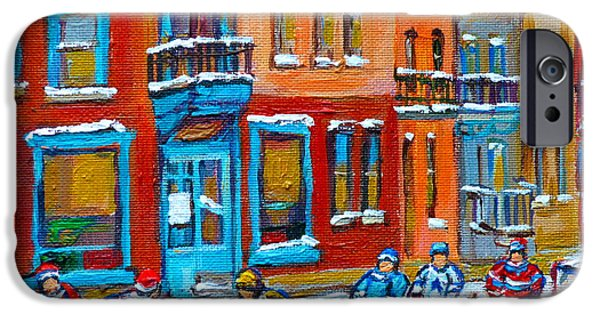 Hockey Paintings iPhone Cases - Street Hockey Game At Wilenskys Montreal Winter Street Scene Paintings Carole Spandau iPhone Case by Carole Spandau