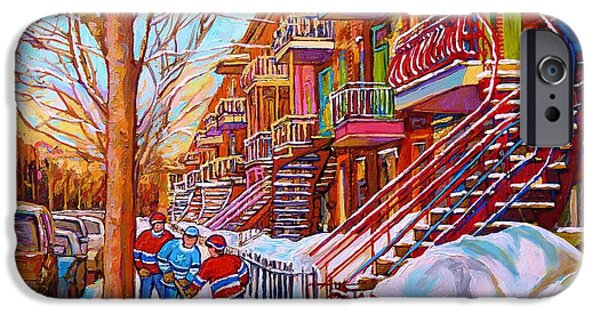 Streets Of Montreal iPhone Cases - Street Hockey Game In Montreal Winter Scene With Winding Staircases Painting By Carole Spandau iPhone Case by Carole Spandau
