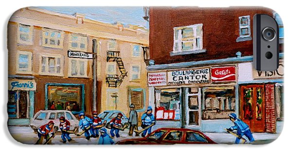 Store Fronts Paintings iPhone Cases - Street Hockey On Monkland Avenue Paintings Of Montreal City Scenes iPhone Case by Carole Spandau