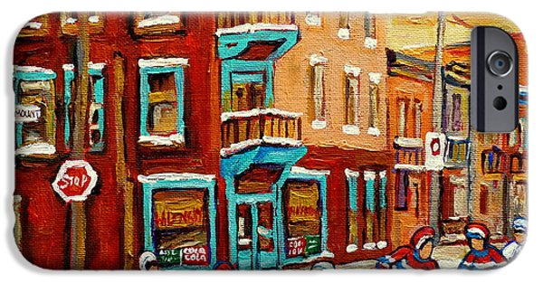 Carole Spandau Hockey Art Paintings iPhone Cases - Street Hockey Practice Wilenskys Diner Montreal Winter Street Scenes Paintings Carole Spandau iPhone Case by Carole Spandau