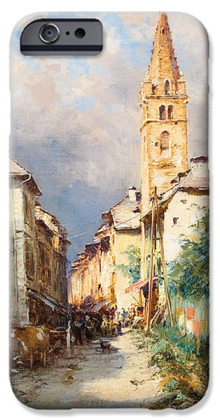 Town Paintings iPhone Cases - Street in Barcelonette iPhone Case by Charles Alexandre Bertier