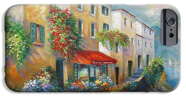 City Scene Paintings iPhone Cases - Street in Italy by the Sea iPhone Case by Gina Femrite