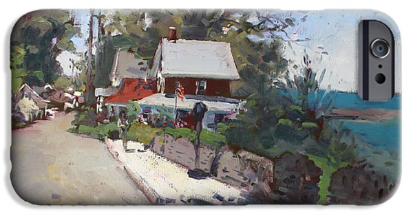 Town iPhone Cases - Street in Olcott Beach  iPhone Case by Ylli Haruni