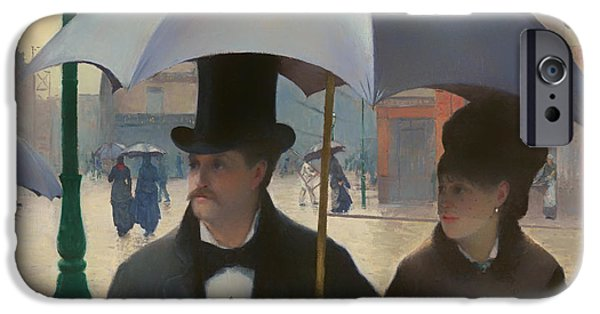 Women Together iPhone Cases - Street in Paris on a Rainy Day iPhone Case by Gustave Caillebott