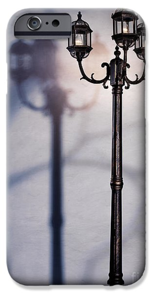Night Lamp iPhone Cases - Street lamp at night iPhone Case by Oleksiy Maksymenko
